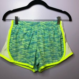 girls blue and green 90 degree shorts